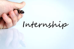 Pen in the hand internship concept. Pen in the hand  over white background internship concept Stock Photo
