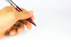 Pen in the hand isolated Stock Photography