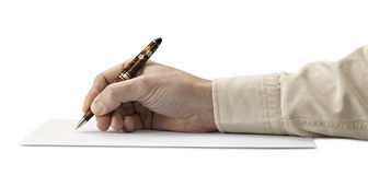 Pen in hand Isolated on white background Royalty Free Stock Image