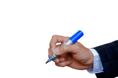 Pen in hand. stock photos