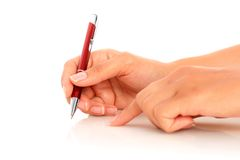 Pen in hand. Stock Images