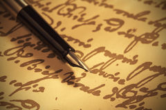 Pen on handwritten paper Stock Photography