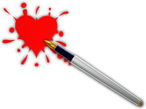 Pen and heart splash. Pen and red heart splash on white background Royalty Free Stock Photography