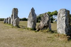 Menhirs alignment at Pointe de Pen Hir. Brittany France stock image