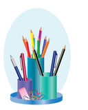 Pen holder. An illustration of a colorful pen holder with pencils, bal point pen, eraser and paper clips Stock Photo