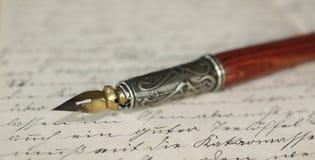 Pen holder and letter. Close-up of a pen holder on an old letter vector illustration