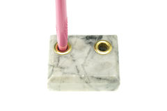 Pen holder made from marble isolated Stock Photography