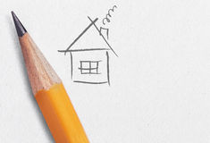 Pen and house drawing Stock Photos