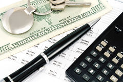 Pen, House key, Calculator and Interest rates Royalty Free Stock Photography