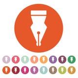 The pen icon. Fountain Pen symbol. Flat Stock Photos