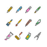 Pen Icon Set Vecteur Photographie stock libre de droits