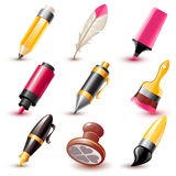 Pen icons. Set of 9 glossy pen and brush icons