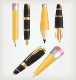 Pen icons. Pencil, pen perspective Royalty Free Stock Photography
