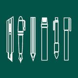 Pen icons set great for any use. Vector EPS10. Royalty Free Stock Images