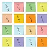 Pen icons sticky note paper Royalty Free Stock Image