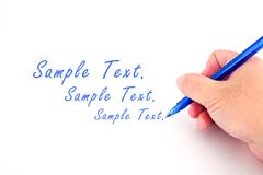 Pen In Hand. Isolated Royalty Free Stock Images