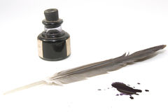 Pen and ink. Pen, ink and  inkblot ahead Royalty Free Stock Photo