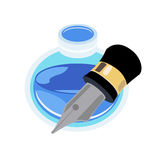 Pen and ink bottle  flat design on white Royalty Free Stock Photo