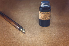 Pen and ink jar Royalty Free Stock Image