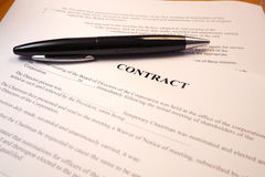 Pen on a legal contract Stock Image