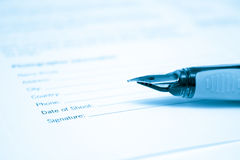 Pen and legal document for signature Stock Photography