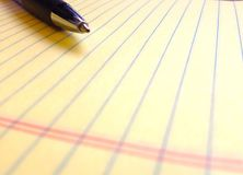 Pen on a legal pad Royalty Free Stock Images
