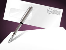 Pen and Letter. Background with stamped envelope and a pen writing on blank paper royalty free illustration