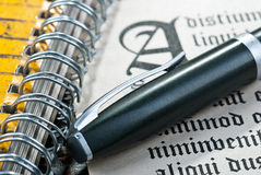 Pen and letter. Pen and ancient gothic text. Dummy text Lorem ipsum Stock Photo