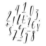 Pen lettering numbers, punctuation, currency. Pen lettering numbers, punctuation and currency symbols. Modern calligraphy, handwritten letters. Vector Royalty Free Stock Photos