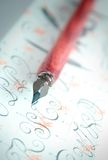 Pen and letters. Closeup of an old pen royalty free stock images
