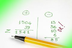 Pen lies on a sheet of paper with financial calculations. Expenses, receipts and profits.  royalty free stock photos