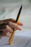 Pen, lijst van gegevens, statistieken Stock Foto