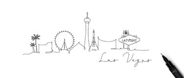 Pen line silhouette las vegas. City silhouette las vegas in pen line style drawing with beige lines on white background vector illustration