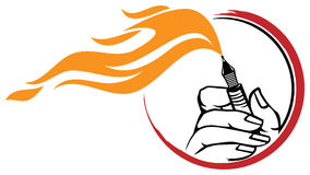 Pen logo. Isolated line art pen with fire logo design Royalty Free Stock Photography