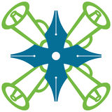 Pen Loudspeaker Symbol Green Blue Fotografia Stock Libera da Diritti
