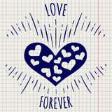 Pen love forever poster with heart Royalty Free Stock Photography