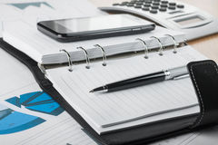 Pen lying on the diary Royalty Free Stock Photo