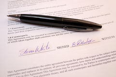 Pen lying on a legal contract Stock Photo