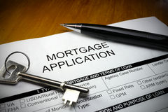 Pen lying property mortgage application Stock Photo
