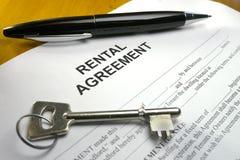 Pen lying property rental agreement Stock Images