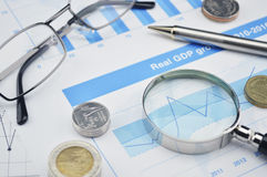 Pen, magnifying glass and glasses on financial chart and graph, Royalty Free Stock Photography