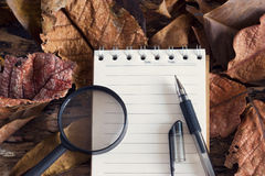 Pen and magnifying glass on note pad with dry leaf in nature royalty free stock photos