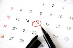 Pen marked on date. Red pen marked on date fifteen Stock Images