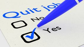 Pen marking yes on a quit job decision paper. 3D illustration Stock Images