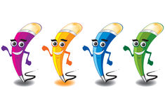 Pen mascot. Colorful and smile pen mascot Royalty Free Stock Image