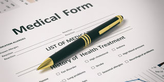 Pen on a medical form. 3d illustration. Ballpoint pen on a medical form. 3d illustration Royalty Free Stock Photos