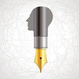 Pen met menselijk hoofd vector illustratie
