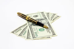Pen and money Stock Photo