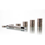 Pen with Money coins Stock Images