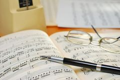 Pen on music book Stock Image